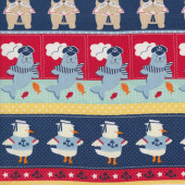 Dogs Seals Pelicans Ahoy Matey Border Quilting Fabric