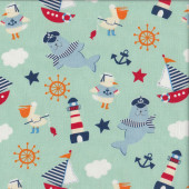 Seals Lighthouse Boat on Mint Green Ahoy Matey Quilting Fabric