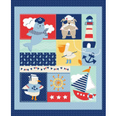 Ahoy Matey Seal Lighthouse Pelican Quilting Fabric Panel
