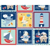 Ahoy Matey Seal Lighthouse Beach in Squares Quilting Fabric Panel
