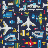 Airport Aeroplanes on Navy Departure Arrival Boys Quilting Fabric