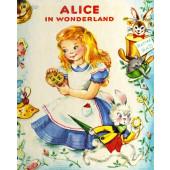 Alice in Wonderland Vintage Look Quilt Fabric Panel