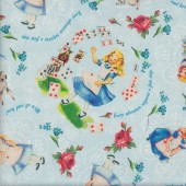 Alice in Wonderland on Blue Licensed Quilting Fabric