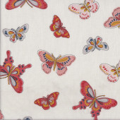 Peach Butterflies on White Quilting Fabric