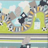 Trains Cows All Aboard Kids Border Quilting Fabric