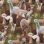Alpacas on Green Grass Farm Animal Country Quilting Fabric