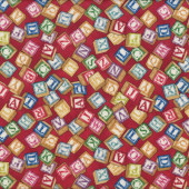 Alphabet Blocks on Red Boys Girls Toys Quilt Fabric