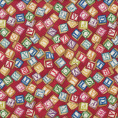 Alphabet Blocks Quilting Fabric Remnant 32cm x 112cm