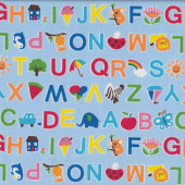 Alphabet ABC with Cute Characters on Light Blue