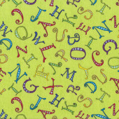 Alphabet Letters on Lime Green AB Seas Kids Quilt Fabric