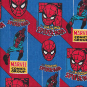 Amazing Spiderman on Red Blue Boys Licensed Quilting Fabric