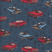 American Muscle Cars on Blue Mustang Quilting Fabric
