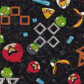 Angry Birds and Blocks on Black Boys Kids Licensed Quilt Fabric