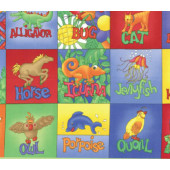 Animal Alphabet Kids Colourful Squares Quilting Fabric Panel
