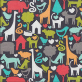 Charcoal Animal World Kids Quilting Fabric
