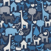 Navy Animal World Kids Quilting Fabric