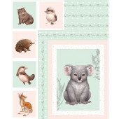 Little Aussie Friends Australian Animals Koala Wombat Kangaroo Quilt Fabric Panel
