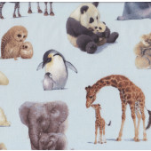 Animals on Blue Penguin Zebra Giraffe Wildlife Quilt Fabric