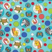 Animals in Circles Quilting Fabric