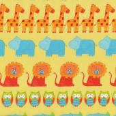 Animals on Yellow Elephants Turtles ABC Safari Kids Quilt Fabric