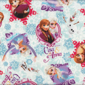 Disney Frozen Anna Elsa Olaf Snowflakes Aqua Blue Licensed Fabric