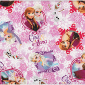 Disney Frozen Anna Elsa Olaf Snowflakes on Pink Licensed Fabric