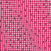 Black Ants on Dark Pink and White Gingham Check Quilting Fabric
