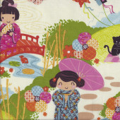 Japanese Oriental Aoi 2 Sisters quilting Fabric