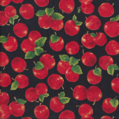 Delicious Red Apples on Black Fruit Kitchen Quilting Fabric