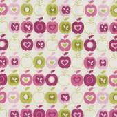 Pink & Green Apples Fruit on White Flos Garden Quilt Fabric