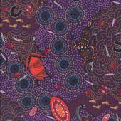 Australian Indigenous Aboriginal Around Waterhole Purple by Nambooka Quilting Fabric