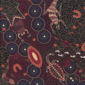 Australian Indigenous Aboriginal Around Waterhole Red by Nambooka Quilting Fabric