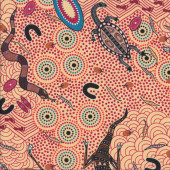 Australian Indigenous Aboriginal Around Waterhole by Nambooka Quilting Fabric