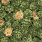 Green Artichokes Vegetable Vegies Quilting Fabric