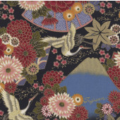 Japanese Flowers Cranes on Black Quilting Fabric