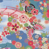 Asian Butterflies Flowers Quilting Fabric