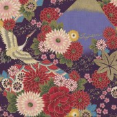Japanese Flowers Cranes on Purple Quilting Fabric