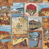 Australian City Icons Aussie Outback Quilting Fabric