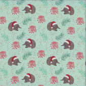 Aussie Christmas Echidna on Mint Green Quilting Fabric