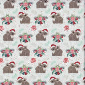 Aussie Christmas Koalas on White Quilting Fabric