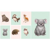 Little Aussie Friends Australian Animals Koala Kangaroo Echidna Quilting Fabric Panel