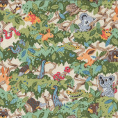 Aussie Animals on Cream Koala Echidna Quilting fabric