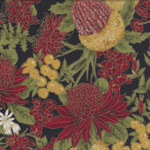 Australian Sun Flowers on Black Quilting Fabric