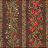 Australian Sun Banksia Grevillea Flowers on Brown Quilting Fabric