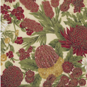 Australian Sun Grevillea Bottlebrush Banksia Flowers on Cream Quilting Fabric