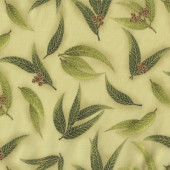 Australian Sun Eucalyptus Gum Leaves Gumnuts on Green Quilting Fabric