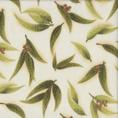 Australian Sun Eucalyptus Gum Leaves Gumnuts on Cream Quilting Fabric
