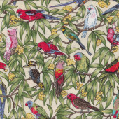 Australian Birds Cockatoo Kookaburra Parrots Galah on Cream Quilting Fabric