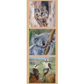 Australian Animals Possum Koala Kookaburra Wildlife Quilting Fabric Panel