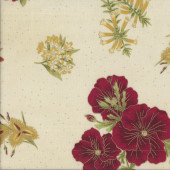 Australian Sun Native Flowers on Cream Floral Quilting Fabric